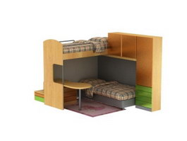 Dormitory School Bed(Bunk bed) 3d model