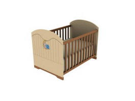 Wood Baby Bed Playpens 3d model