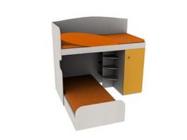 School Dormitory Bunk Bed 3d model