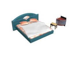 Bedroom Double bed and Corner Shelf 3d model