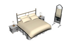 Bedroom soft bed with bedside and mirror 3d model