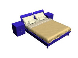 Double bed and bedside chest 3d model
