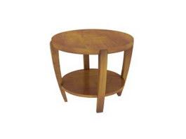 Round Wooden Tea table 3d model