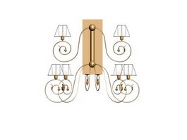 Wrought Iron Lamp Wall Sconce 3d model