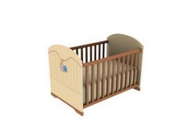 Wooden baby cot 3d model