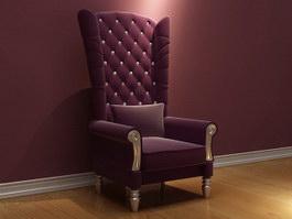 Antique Furniture Throne Chair 3d model