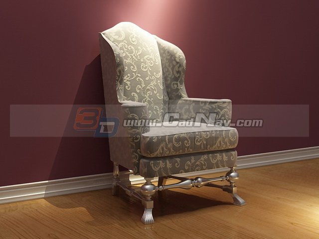 Vintage French Fabric Sofa Chair 3D Model