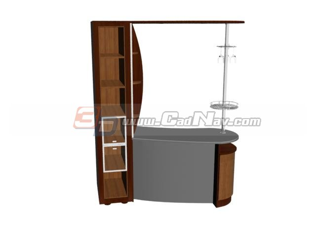 Home Bar Counter With Wine Cabinet 3d Model 3DMax Files