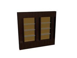 Wood Bookshelf Cabinet 3d model