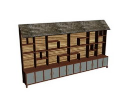 Chinese Style Wood Display shelves 3d model