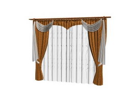 Door curtain with sheer curtain 3d model