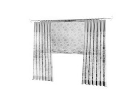 Printed kitchen curtain 3d model