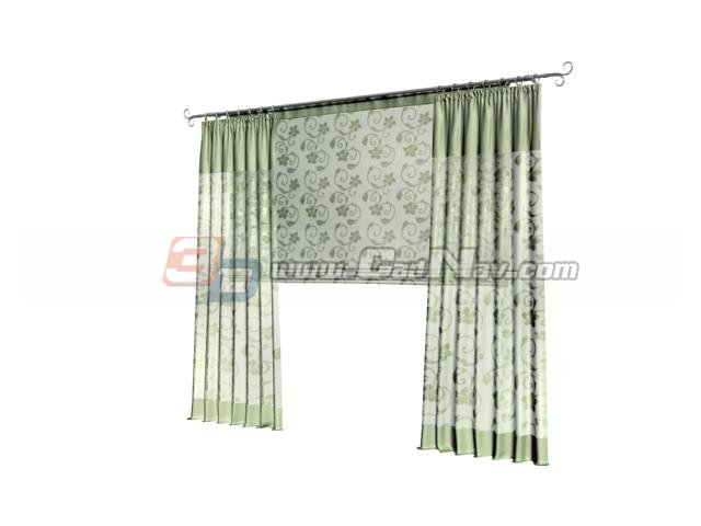 Unique kitchen curtains 3d model - CadNav