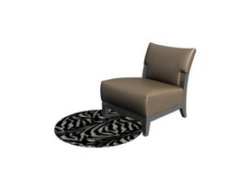 Bedroom Sofa Chair and Floor Mat 3d model