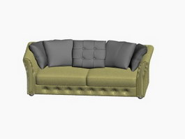 Two-seater sofa and Throw Pillow 3d model