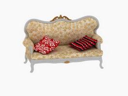 Antique sofa love seat 3d model