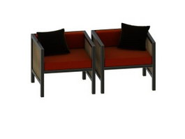 Single seater sofa chairs 3d model