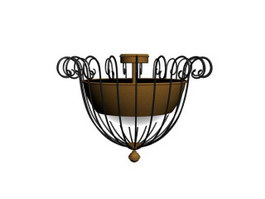 Wrought Iron ceiling lamp 3d model