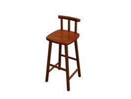 Wooden black bar stool 3d model
