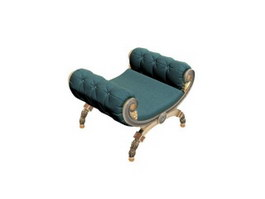 Antique Wrought Iron Footstool 3d model