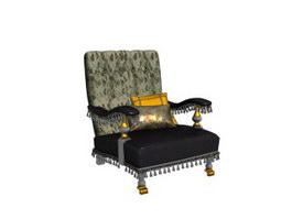 Wooden baroque armchair 3d model