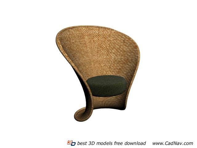 Wicker rattan tub chair 3d model 3DMax files free download