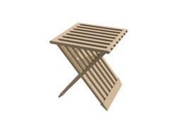 Folding wooden Stool 3d model