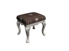 Carved antique wooden stool 3d model