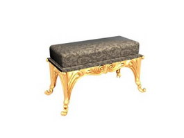 Living room antique bench stool 3d model