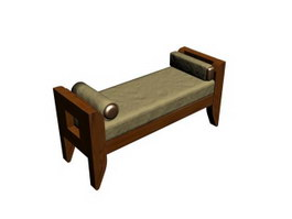 Wooden Bed Bench 3d model