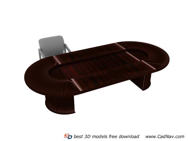 Conference table office furniture 3d model 3dmax files for Office table 3d design