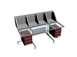 Glass workstation table with side cabinet 3d model