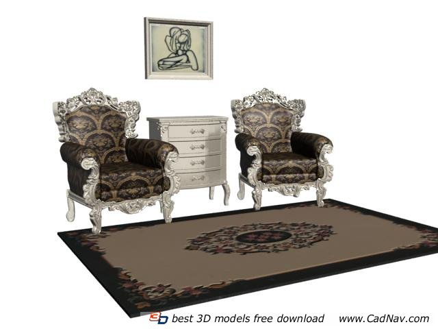 European Style Classic Sofa With Side Cabinet 3d Model