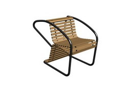 Outdoor bamboo chair 3d model