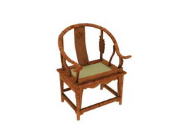 Wooden Chinese antique chair 3d model