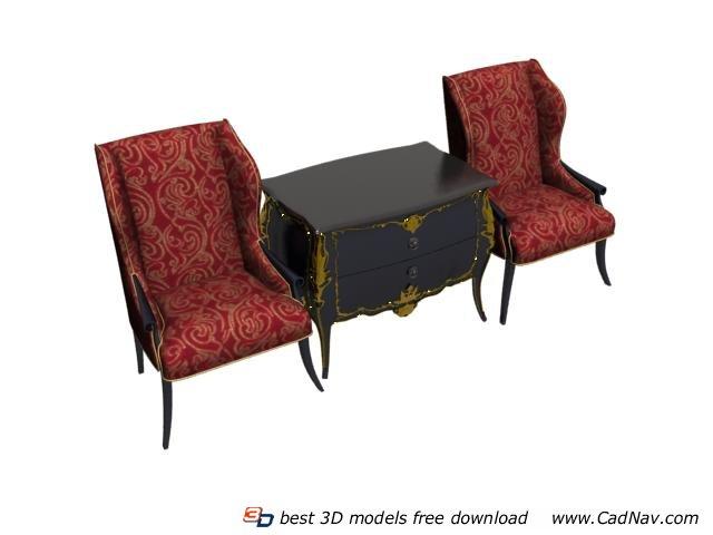 Living Room Sofa Set Antique Sofa Table 3d Model Cadnav