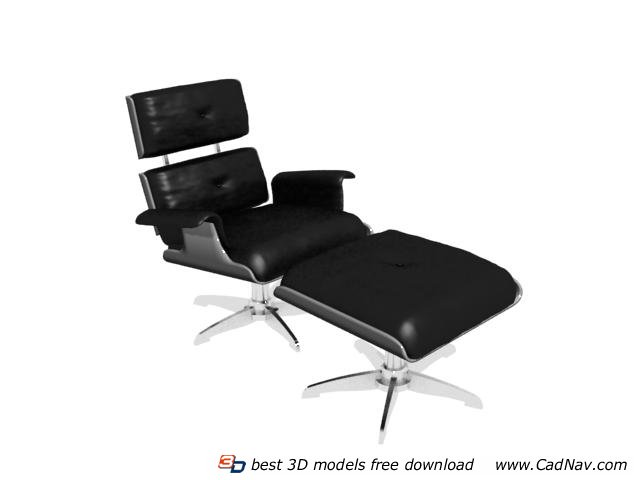 fice Lounge Chair and Ottoman 3d model 3DMax files free modeling