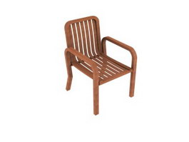 Wood chair with armrest 3d model