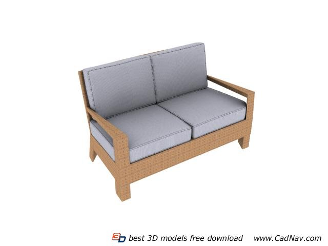 Two Seater Sofa Settee 3d Model 3dmax Files Free Download