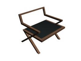 Classic wood corner chair 3d model