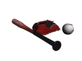 Baseball Set Baseball glove Baseball bat 3d model