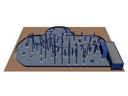 Amusement park rides roller coaster 3d model