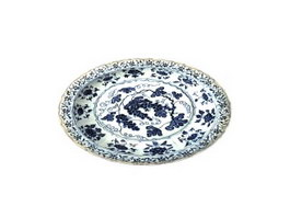 Blue and white porcelain plate 3d model