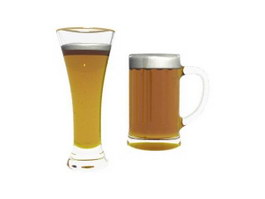 Two mugs of beer 3d model