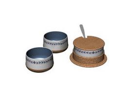 Porcelain sugar pot and cups 3d model