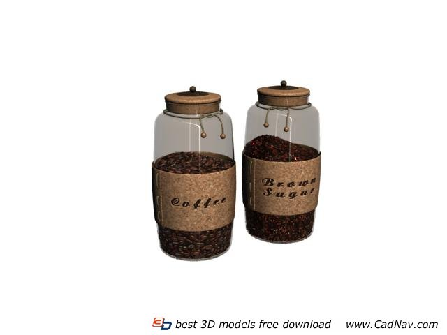 Glass Coffee Bottle And Sugar Pot 3d Model 3dmax Files