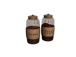 Glass Coffee Bottle and  Sugar Pot 3d model