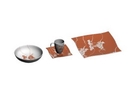 Stoneware terracotta dinnerware sets 3d model