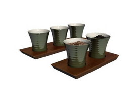Terracotta coffee cups and cup tray 3d model