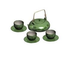 Japanese porcelain tea set 3d model